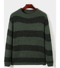 hombres otoño invierno moda rayas estampado de colores bloque de punto cuello redondo suéter de manga larga