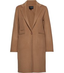 angela wool coat wollen jas lange jas bruin andiata