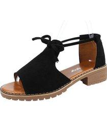 sandalias de gamuza de talla grande de verano con sandalias de cordón