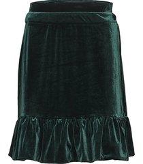 emma velvet kort kjol grön line of oslo