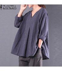 zanzea mujeres compruebe tela escocesa partido holgada blusa de algodón ocasional de lino otoño cuello en v manga larga camisa floja superior blusas la marina de guerra de gran tamaño -azul