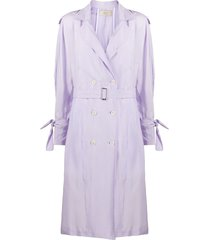 maison flaneur loose fit belted trench coat - purple