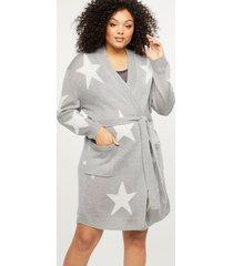 lane bryant women's sweater knit robe 26/28 shinning star grey
