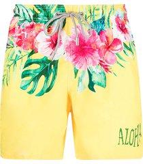 mc2 saint barth hibiscus-print swim shorts - yellow