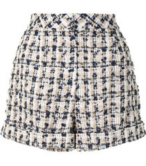 edward achour paris tweed high-waisted shorts - multicolour