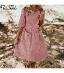 vestido corto con rayas zanzea para mujer-rojo