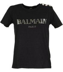balmain black cotton t-shirt with silver balmain logo print