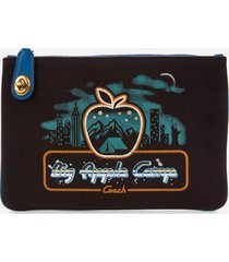 coach 1941 women's retro big apple camp canvas turnlock pouch - black