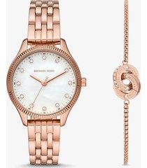 mk set orologio lexington tonalità oro rosa e bracciale con maglie intrecciate - oro rosa (oro rosa) - michael kors