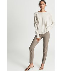reiss isla - ponte trousers with zip detail in mink, womens, size 12
