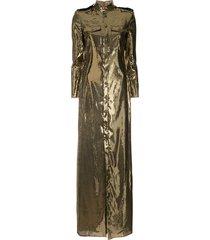 ralph lauren collection sequin shirt dress - gold