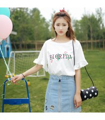 carta de moda coreana bordados lotus manga mujer camiseta de manga corta