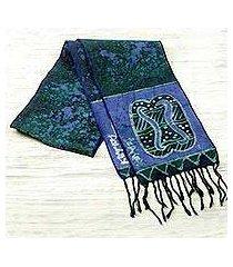 cotton batik scarf, 'blue unity chain' (ghana)