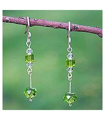 sterling silver dangle earrings, 'lime light' (mexico)