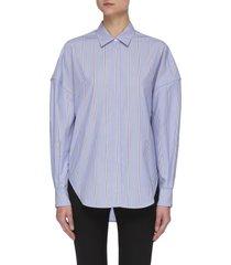 drop shoulder stripe button-down shirt