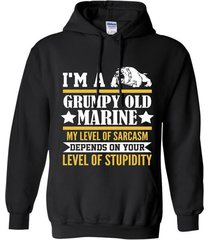 im a grumpy old marine my level of sarcasm depends t-shirt hoodie