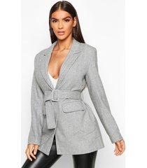 herringbone wool look belted jacket, brown