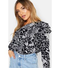 snake printed woven ruffle one shoulder top, black