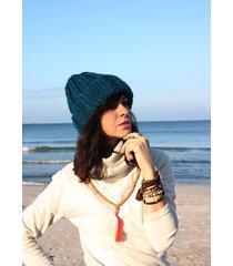 czapka beanie z wełną w kolorze morskim