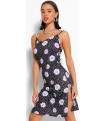 daisy print jersey midi slip dress, black