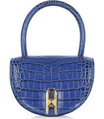 salar designer handbags, winnie croco embossed leather light blue top handle bag