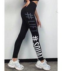 leggings de cintura alta elásticos con letras negras