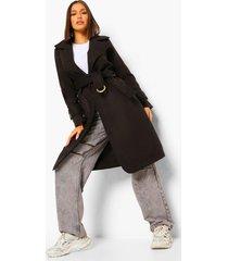 nepwollen jas met ceintuur met gesp, black