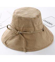 donna casual cappello cloche a secchiello in cotone pieghevole a larga tesa con protezione da sole cappello da spiagga d'estate