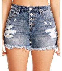 madden girl juniors' denim frayed-hem shorts