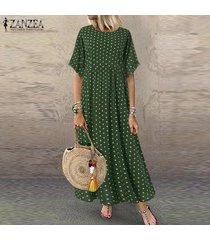 zanzea mujeres acampanado manga corta camiseta del verano vestido de lunares vestido maxi largo -verde