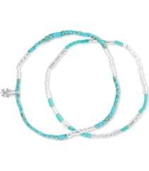 lucky brand silver-tone 2-pc. set stone flat beaded stretch bracelets