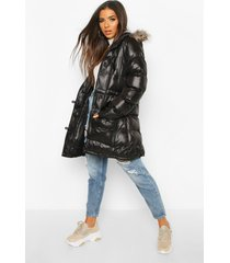 glanzende parka jas met faux fur zoom, zwart