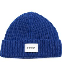 dondup blue wool blend hat with logo