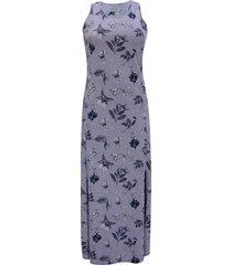 vestido pau a pique longo estampado cinza