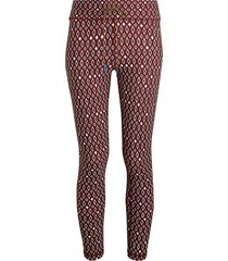 the upside women's diamond-print midi capri tights - maroon - size xxs