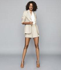 reiss lauren - wool linen blend blazer in oatmeal, womens, size 10