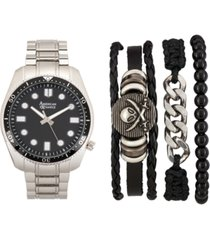 american exchange men's silver-tone bracelet watch 46mm gift set