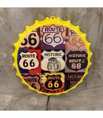 enfeite decorativo tampa luminã¡ria route 66 plã¡stico amarelo - amarelo - dafiti