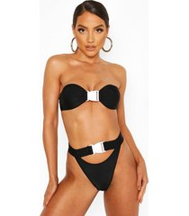 bandeau buckle keyhole high leg bikini, black