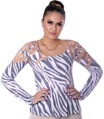 blusa ficalinda manga longa estampa exclusiva zebra barroco decote redondo evasê