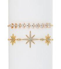 eye candy la women's northstar & leaf 18k gold plated, cubic zirconia crystal adjustable bracelet