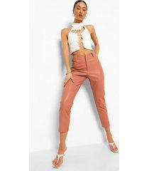 nepleren skinny fit broek met v-taille, nude