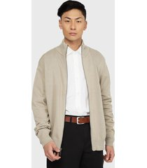 sweater dockers full zipper solid taupe - calce slim fit