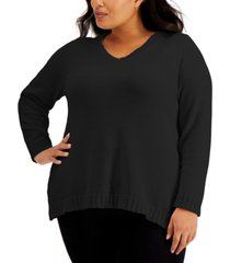 karen scott plus chenille v-neck sweater, created for macy's