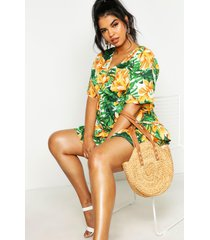 plus tropical floral ruffle smock dress, green