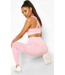 naadloze hot legging met ondersteunende tailleband, roze