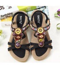 boho sandali bassi a punta aperta con perline strass a taglia grande