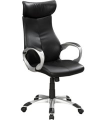 monarch specialties high back office chair in black leather