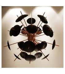 lustre pendente sputnik atom orbit - cobre e preto