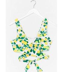 womens lemon wrap tie back bikini top - white